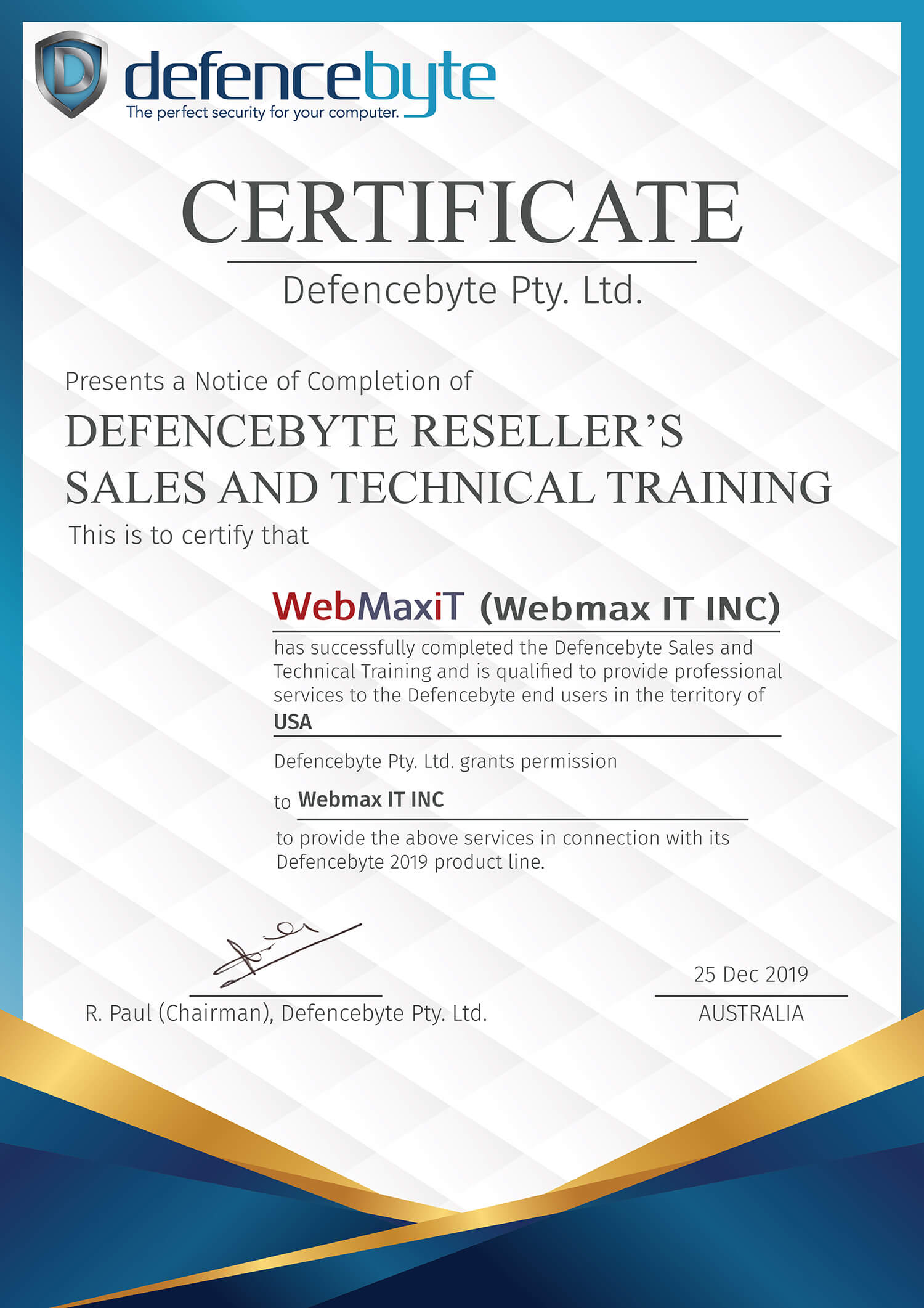Sales and Training Certificate